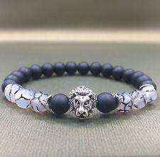 "8""L Handcrafted 8mm Dragon Vein Agate+Onyx Gemstone Beaded Silver Lion Bracelet"