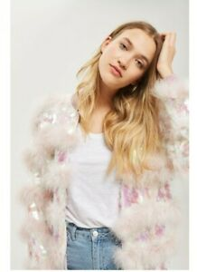 New - Iconic TOPSHOP Pink Marabou Feather Sequin Fluffy Bomber Jacket - Size L