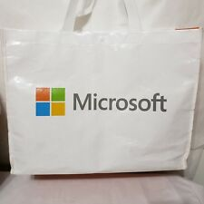 Vinyl Microsoft Tote Shopping Bag Collectible Advertising White Orange DUF-00084