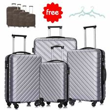 4 Piece ABS Luggage Sets Travel Suitcase Spinner Hardshell Lightweight (Silver)