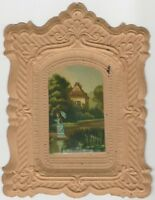 Victorian Ornamental Pressed Paper Card Picture & Fancy Frame
