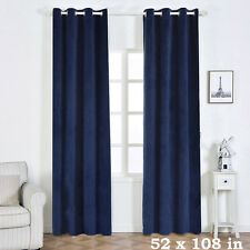 "2 pcs Navy Blue 52"" x 108"" Soft  Velvet Window CURTAINS Drapes Panels Home SALE"