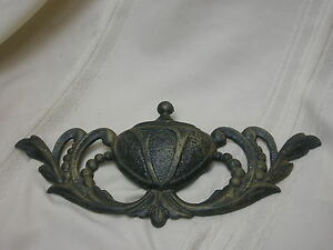 """Vintage Accent Cast Iron Wall Hanging Piece 10 3/4"""" X 5"""" Ornate Black & Gold"""