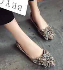 Womens Rhinestones Bowknot Pointed Toe Pumps Shoes Slip On Loafers Weeding Party