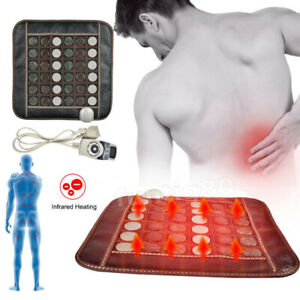 Electric Far Infrared Heating Therapy Massage Pad Jade Tourmaline Stone Seat Mat