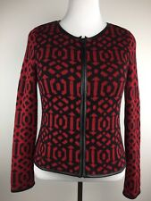 Chico's Womens Cardigan Sweater Sz 1 Long Sleeve Zip Front Red Black Knit Jacket