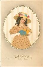 Victorian Girl in Frame~Wallpaper~Ringlets~Easter Bonnet~Colored Eggs~Gold Leaf