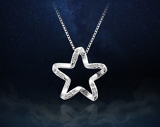 Zircon Star Pendant 925 Sterling Silver Chain Necklace Womens Jewellery Gift UK