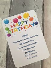 Personalised Birthday Balloons Party Invitations Pk of 10 with envelopes
