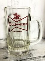 Anheuser Busch BUDWEISER Red Bowtie BEER MUG GLASS STEIN King Of Beers VTG