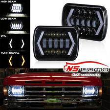 "5x7"" 7x6"" LED Headlamp Arrow Angel Eye DRL Turn Signal Lights For Jeep GMC Chevy"