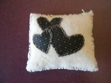 REPRODUCTION PRIMITIVE HAND CRAFTED PIN CUSHION- 3 FABRIC HEARTS ON FRONT