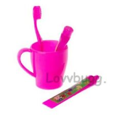 Pink Toothbrush Cup Set for American Girl & Wellie Wishers Doll Accessory LOVV!