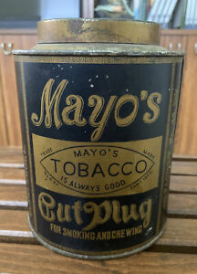 Vintage Rare Round Mayo's Cut Plug Tobacco Tin