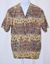 """Sunan Batik Solo Button Up Short Sleeve Camp Shirt 4L Mens Large L 44"""" Chest"""