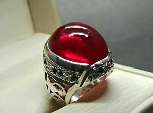 Mens Natural Ruby Ring Genuine Ruby Ring Sterling Silver Ruby Ring Yaqoot Ring
