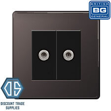 BG Black Nickel Screwless 2 Gang Flatplate Screened Satellite Sky Socket Black