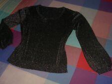 Jersey new saks woman negro brillante plateado discreto fino talla para X/LparaM