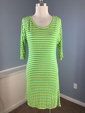Anthropologie Velvet ! Spencer Graham Yellow Green Stripe stretch Dress S Casual