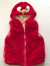 Child's Owl Head Red Fur Sleeveless Hoodie Size Small Halloween Costume New