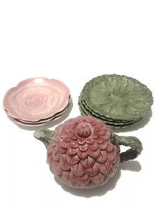 Vintage Fitz and Floyd Tea Pot omnibus 7 Plate SET RARE Fruit Fitz & Floyd Red