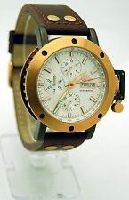 Adee Kaye AK-5004-MRG7 Men's Retro Rose Gold Tone Leather Band Automatic Watch