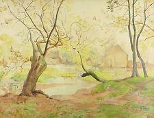 Paysage lacustre : Grande aquarelle circa 1900 Numéro au dos cadre d'origine