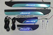 4XDoor Stainless Sill Plate Guard For Honda Accord 2013-2015 with Blue LED Light