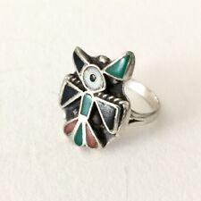 Old ZUNI BIRD RING - Sterling / Inlay - circa 1930 / Native American     (5E65)