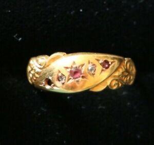 15 ct gold ring Star of David amethyst-colour stones + diamonds size M 1908