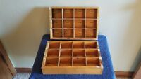 Lot of Two Vintage wood 12 Compartment Parts Drawers Dovetailed