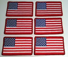 6 American United States USA Flag Iron On Patch Shoulder Emblem Red Border