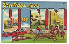 LARGE LETTER LINEN-GREETINGS FROM U OF NM ALBUQUERQUE,NEW MEXICO 1937