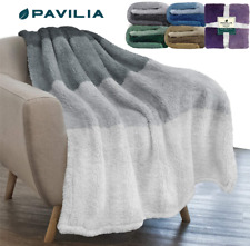 Sherpa Fleece Ombre Throw Blanket Super Soft Fluffy Cozy Microfiber Couch Throw