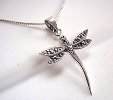 Dragonfly Marcasite Necklace 925 Sterling Silver Corona Sun Jewelry Dainty