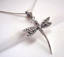 Dragonfly Marcasite Pendant 925 Sterling Silver Corona Sun Jewelry Dainty