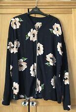 Navy Floral Zip Up Blouse Size 16