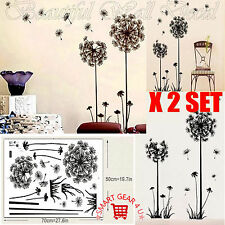 2 Set of 2 Dandelion Flowers Large Wall Stickers Art Decal Home Living Room DIY