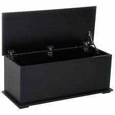 Modern Trunk Chest Wooden Rectangle Toy Box Lift up Lid Storage Furniture Black