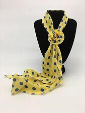 Small Yellow & Blue Polka Dot Scarf with Removable Flower Clip