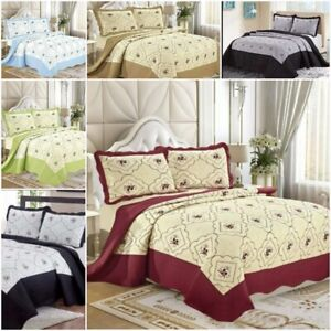 3 PCS Quilted Bedspread Bed Throw Reversible Embroidered Bedding Set Double King