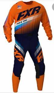 Brand New FXR Adult Clutch Orange/Blue Motocross MX Kit Size 36W X-Large Jersey