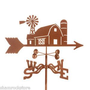 Farm Scene - Barn with Windmill Weathervane - Vane Complete w/ Choice of Mount