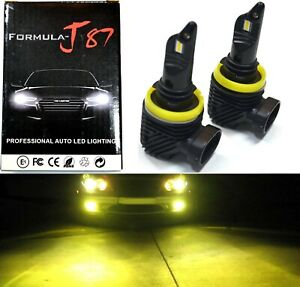 LED Kit M10 100W H11 3000K Yellow Two Bulbs Fog Light Replacement Plug Play Lamp