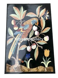 3'x2' Marble Top Desginer Dining Table Multi Stone Parrot Inlay Art Decors B095