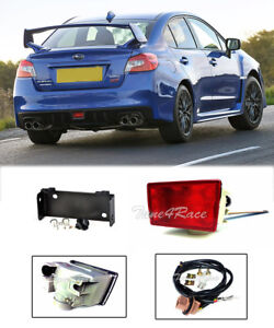 For 15-18 Subaru WRX STi Rear Brake Tail Red Fog Lights W/ Mounting Bracket JDM