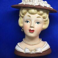 "RELPO K1053 HEAD VASE 5"" Blue Eyed Blonde Red Lips Pearls Brown Hat Headvase"