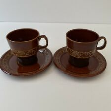 More details for vintage retro 1960s/70s brown zobra beswick pair of coffee cups and saucers.
