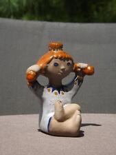 "Pippi Langstrump Dorothy Clough Upsala Ekeby Sweden Girl Figurine 3 3/4"" Tall"