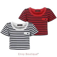 Striped Crew Neck Cropped T-Shirts, Top & Shirts (2-16 Years) for Girls
